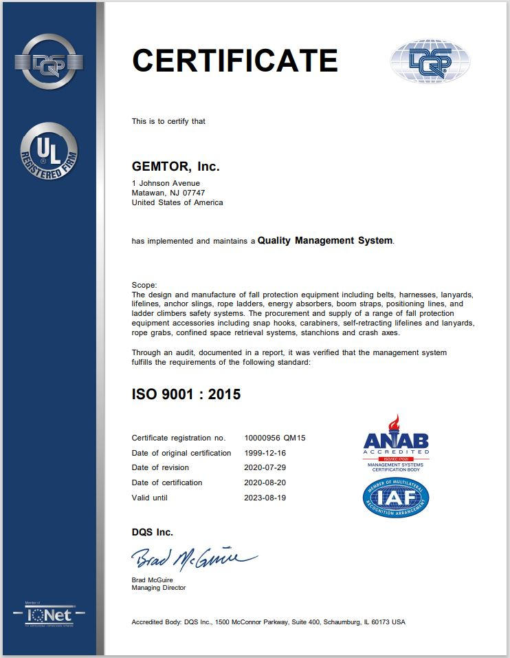 Gemtor ISO 9000:2008 Certificate Click to download PDF